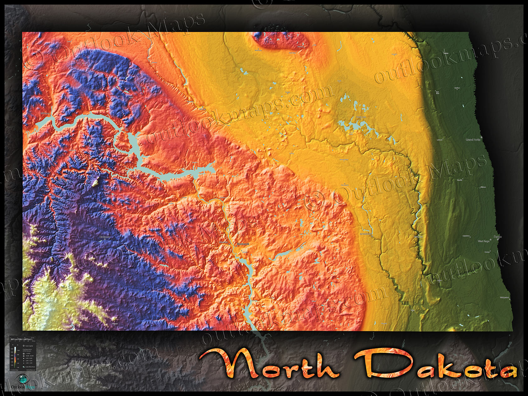 North Dakota Map | Colorful Topography of Physical Features