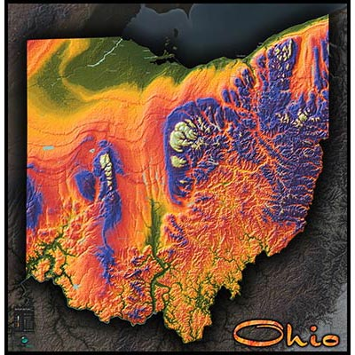 Colorful Ohio Wall Map 3d Topographical Physical Features