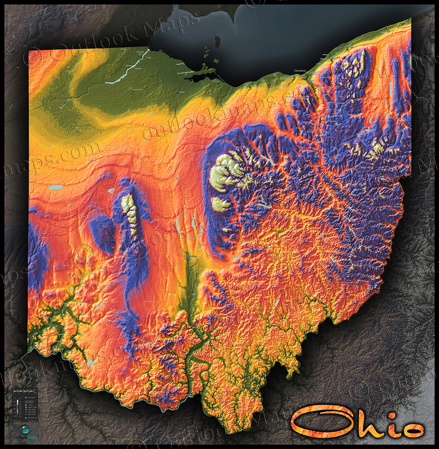 Colorful Ohio Wall Map | 3D Topographical Physical Features