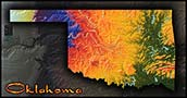 Topographic Oklahoma Physical Wall Map