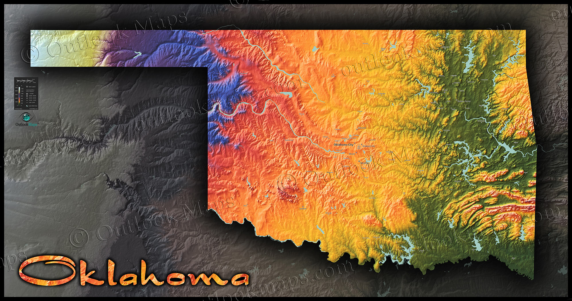Oklahoma Physical Features Map | Colorful Topography & Terrain