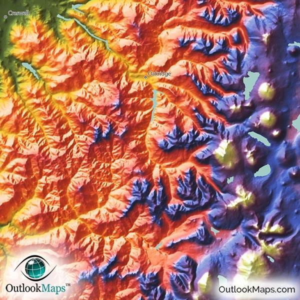 Elevation Map Oregon Oregon Map Detail