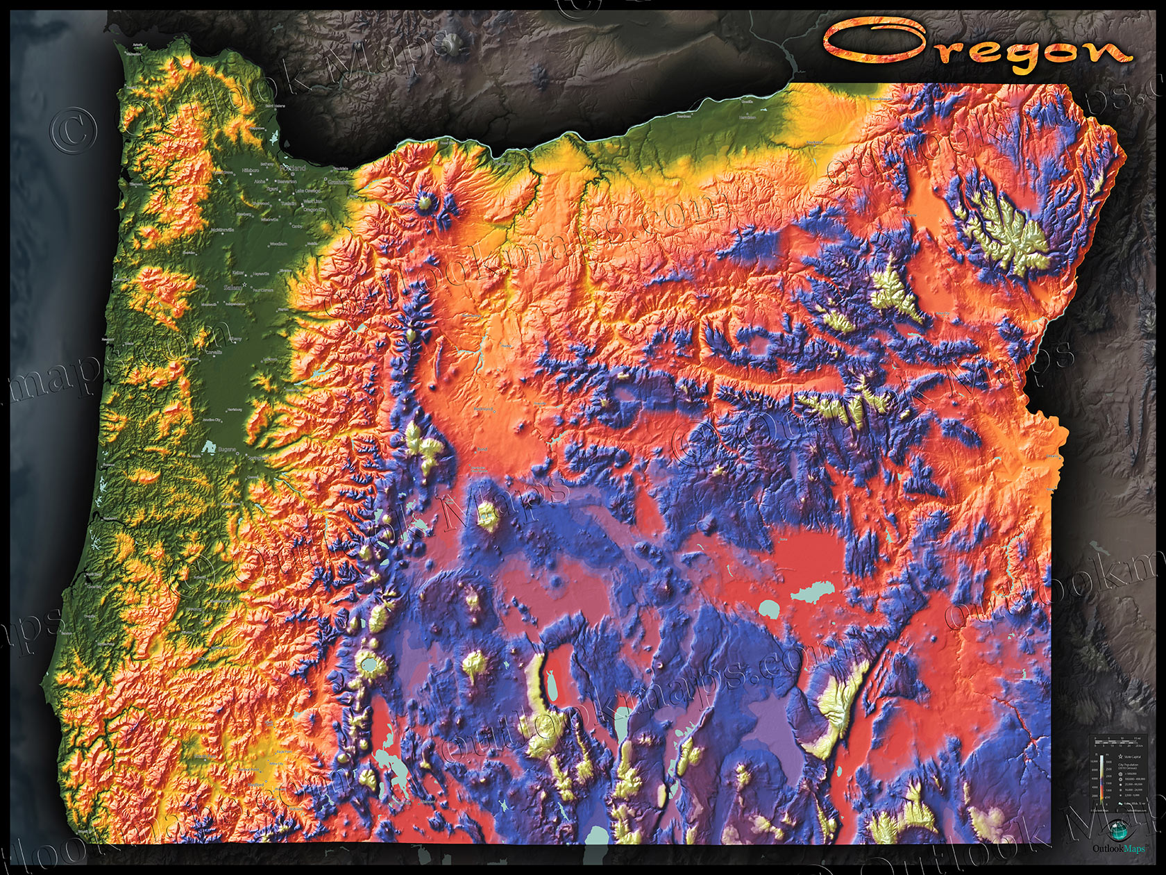 Oregon Map Image.Oregon Topography Map Physical Features Mountain Colors