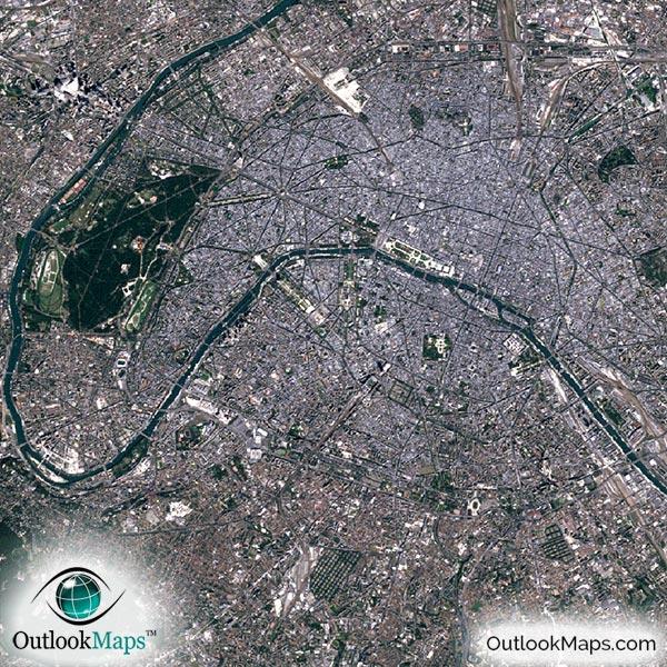 Paris France Satellite Map Print Aerial Image Poster - Satellite map