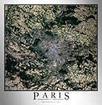 Aerial Image Satellite Map of Paris Poster