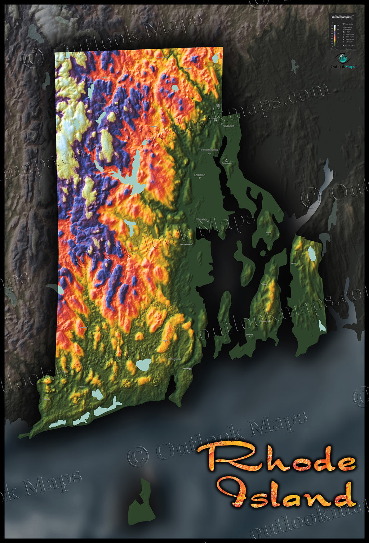Rhode Island Map Vibrant Topography Physical Features - Rhode island physical map