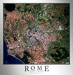 Aerial Image Satellite Map of Rome Poster