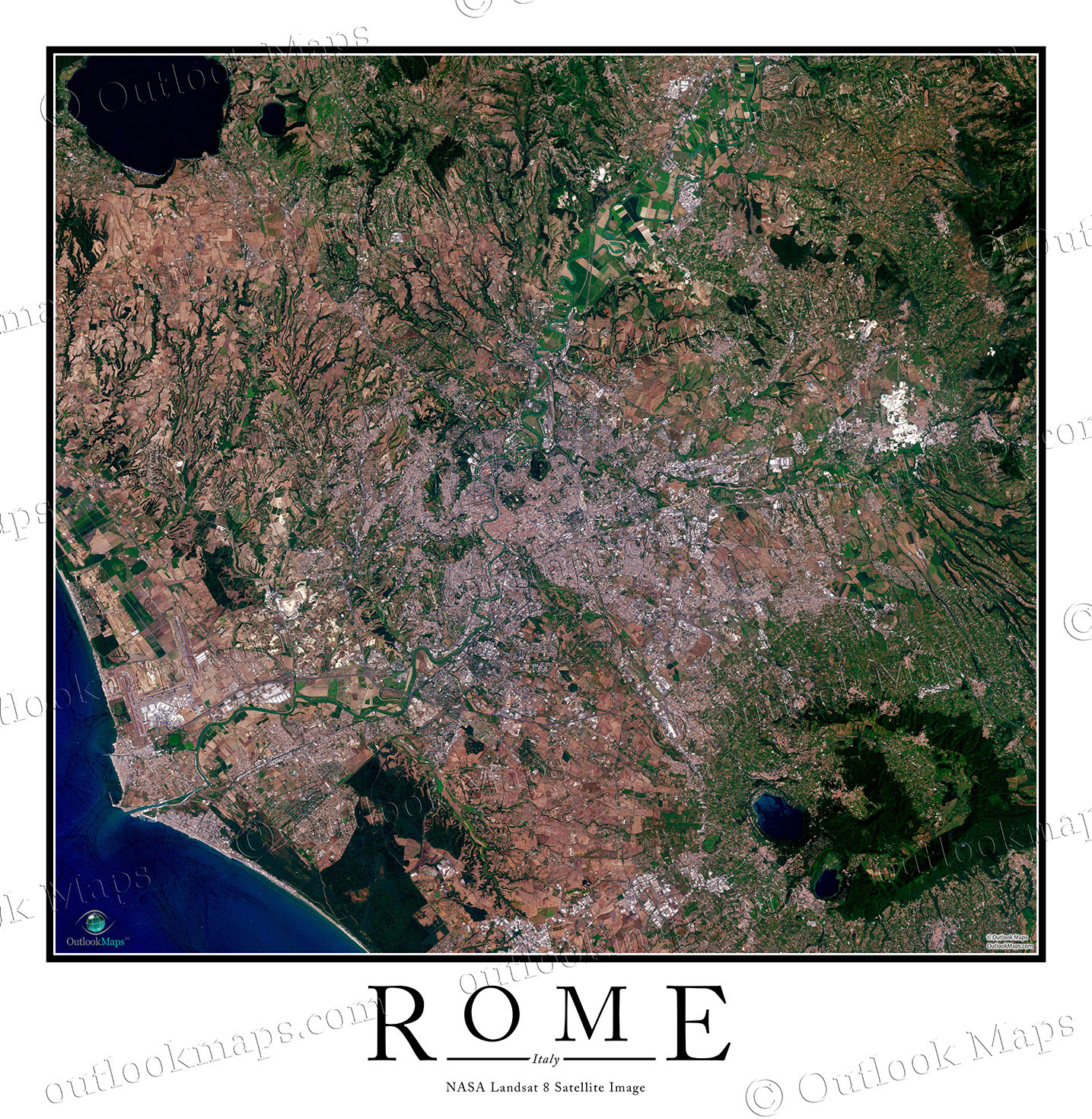 Rome Italy Satellite Map Print Aerial Image Poster - World satellite map view