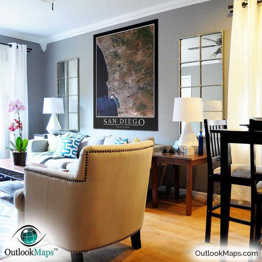 san diego aerial map as home decor - San Diego Home Decor
