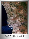 Aerial Image Satellite Map of San Diego Area Poster