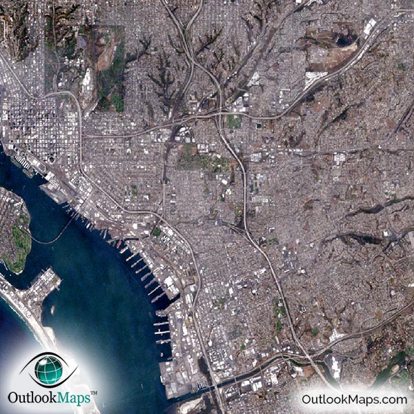 san diego tijuana satellite map print