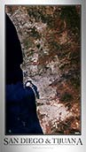 Aerial Image Satellite Map of San Diego Tijuana Poster