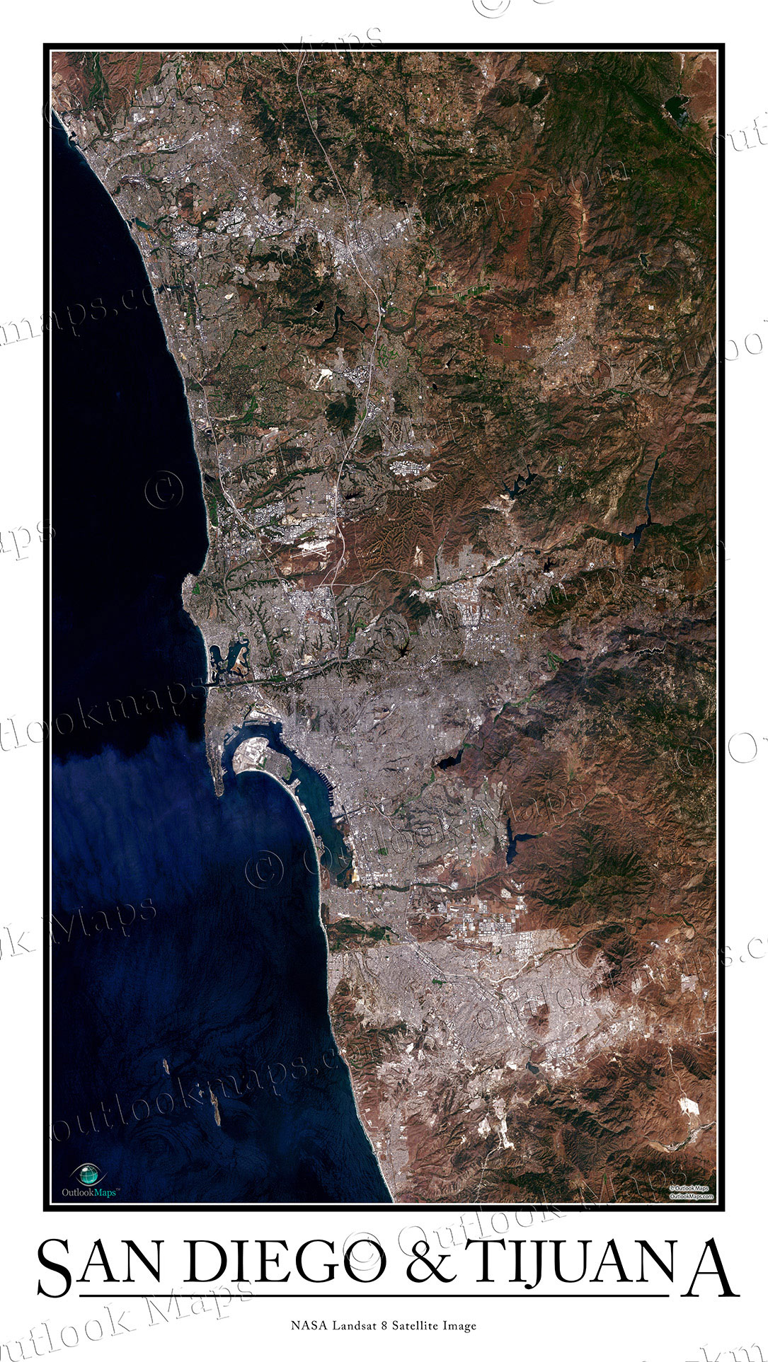 San Diego Tijuana Satellite Map Print Aerial Image Poster