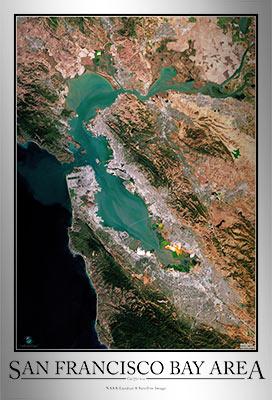 San Francisco Bay Area Satellite Map Print Aerial Image
