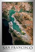 Aerial Image Satellite Map of San Francisco Poster