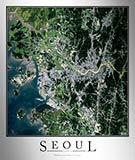 Aerial Image Satellite Map of Seoul Poster