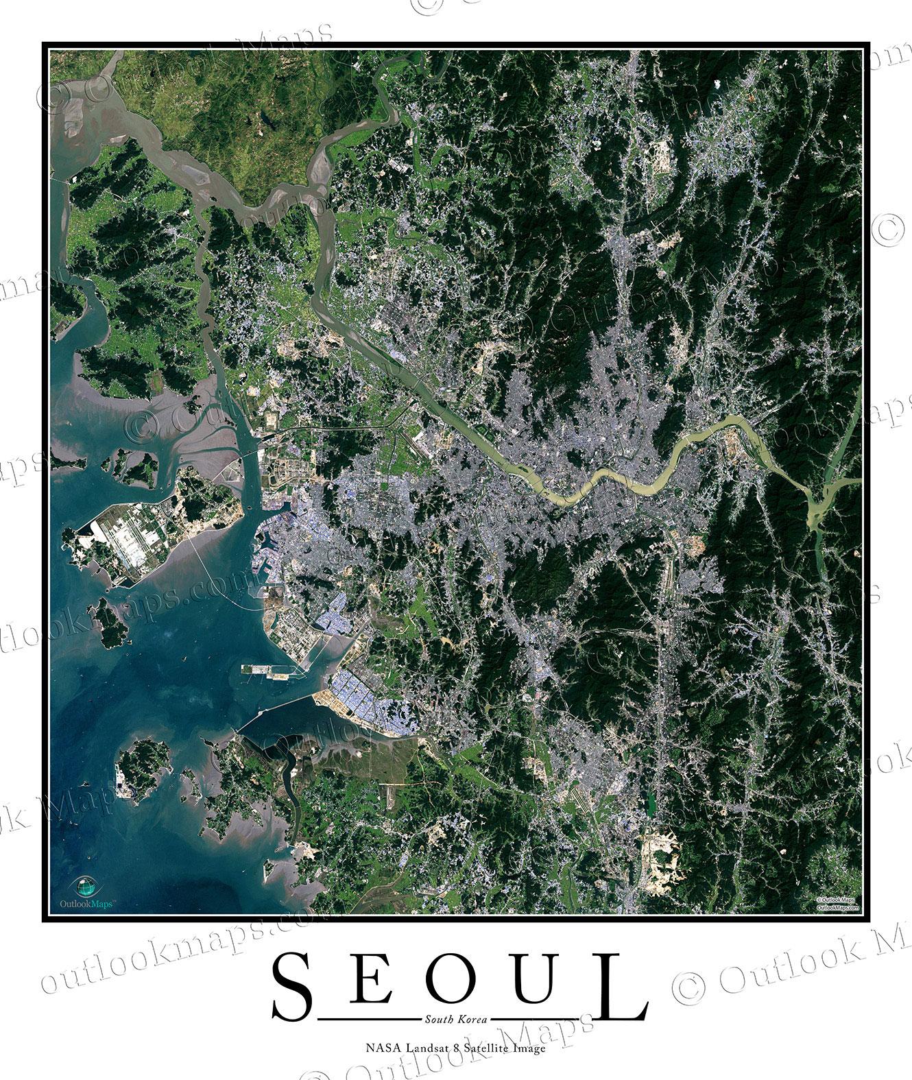 Seoul Korea Satellite Map Print Aerial Image Poster