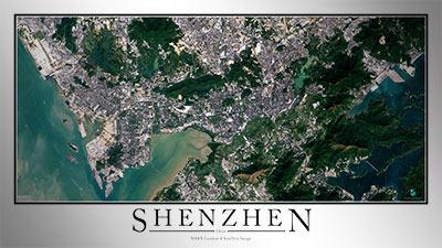 Shenzhen China Satellite Map Print Aerial Image Poster