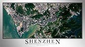 Aerial Image Satellite Map of Shenzhen Poster