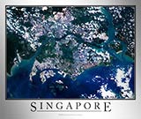 Aerial Image Satellite Map of Singapore Poster