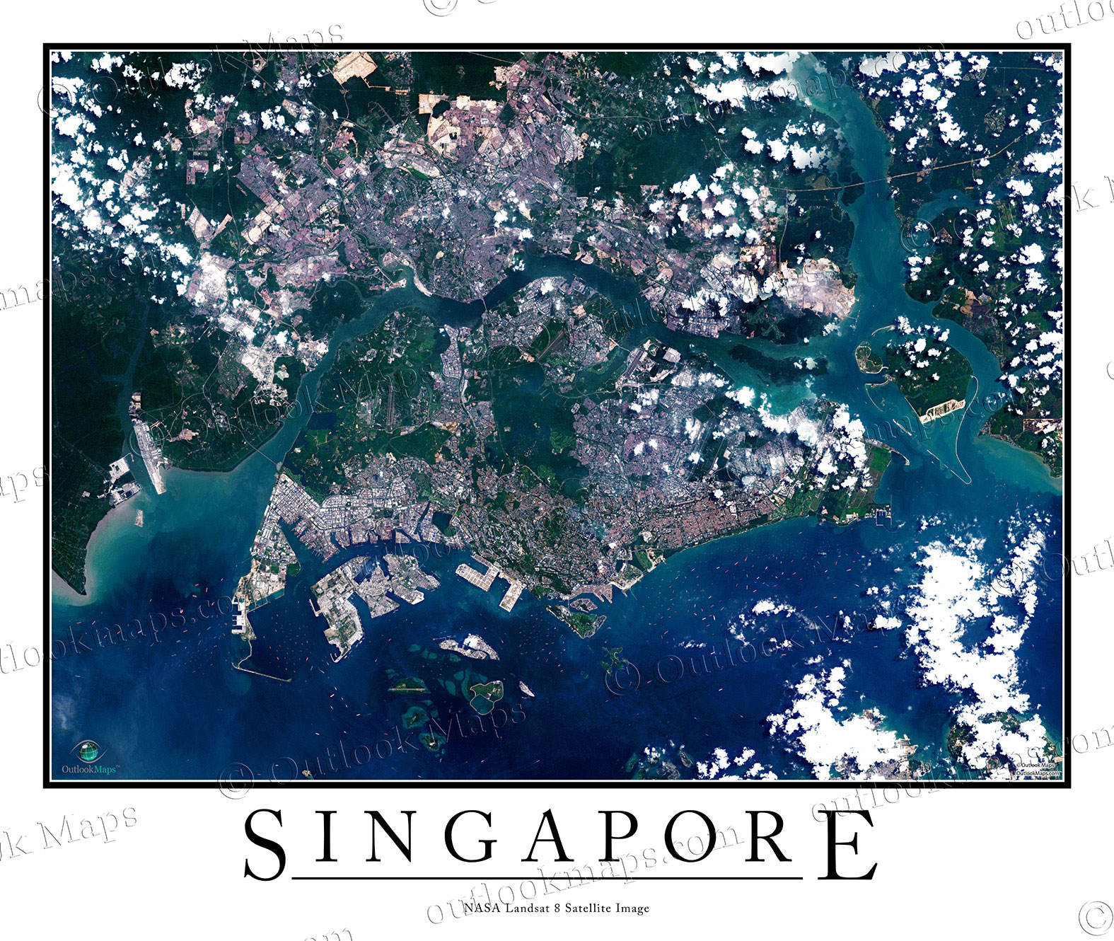 Singapore satellite map print aerial image poster aerial image satellite map of singapore poster publicscrutiny Image collections