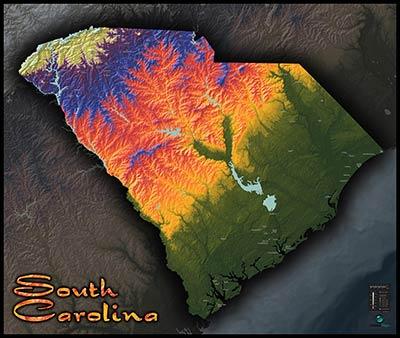 South Carolina Terrain Map | Artistic Colorful Topography