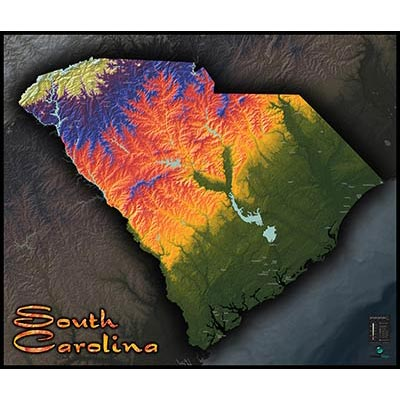 South Carolina Terrain Map Artistic Colorful Topography