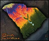 Physical Wall Map of South Carolina Topography