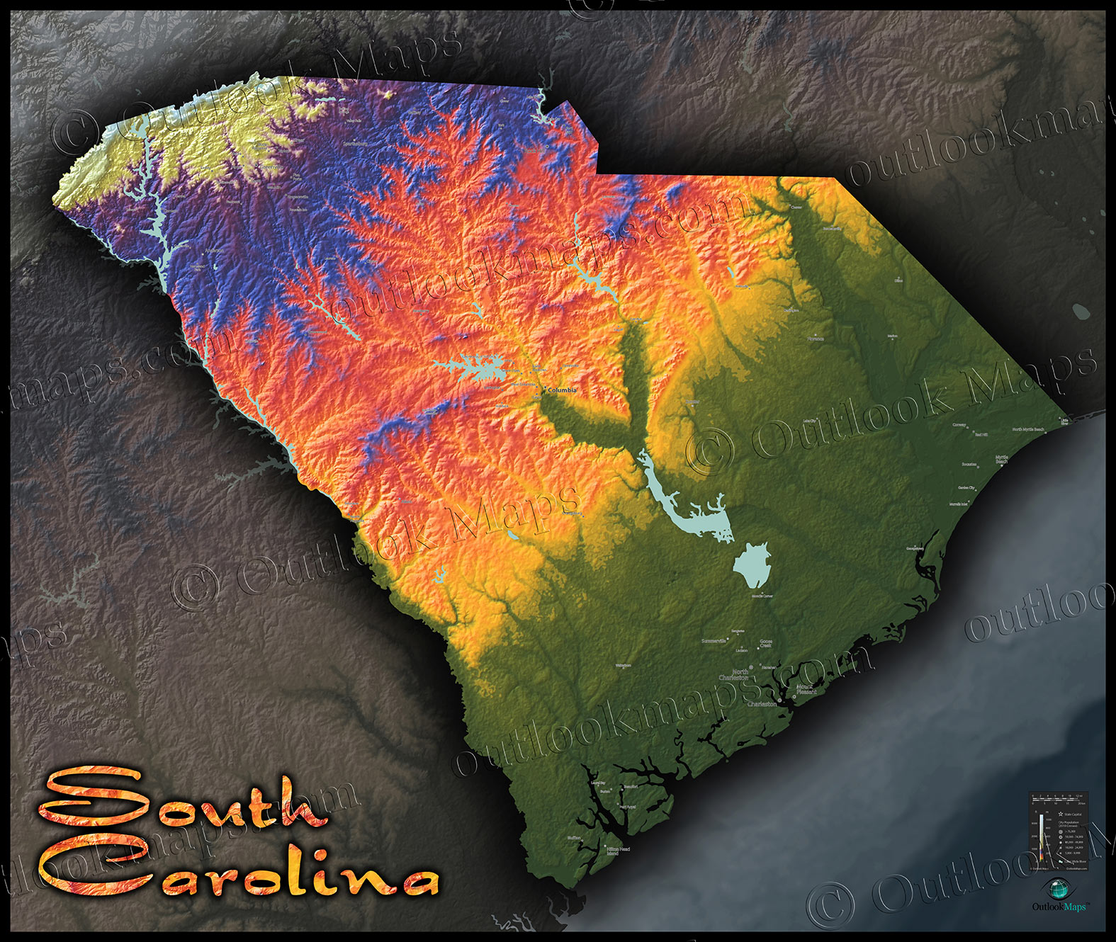 South Carolina Terrain Map | Artistic Colorful Topography