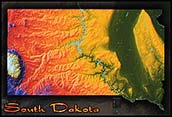Physical Wall Map of South Dakota Topography