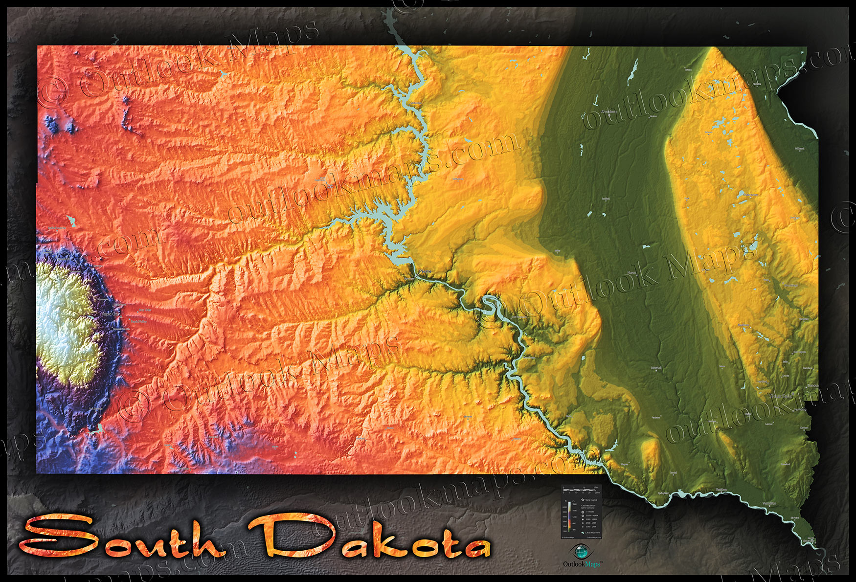 South Dakota Topography Map | Physical Terrain in Bold Colors
