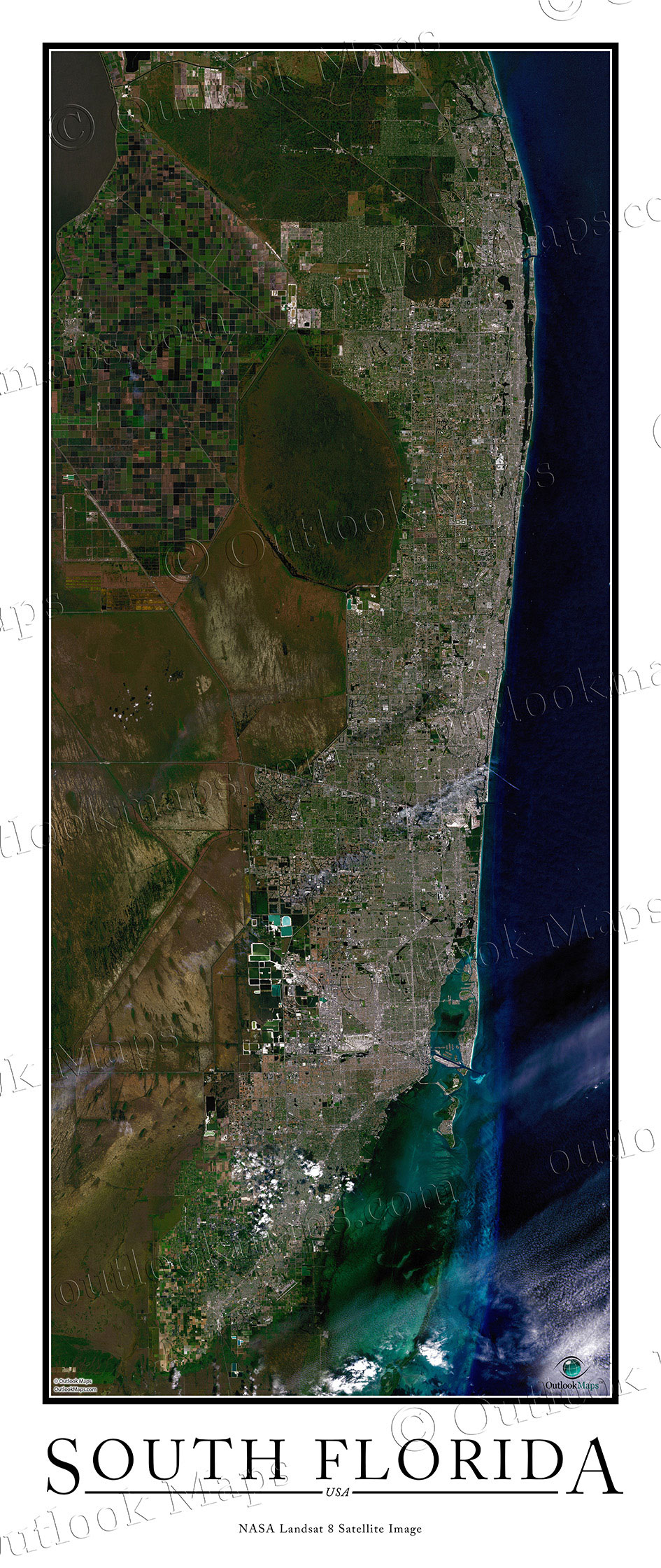 South Florida Satellite Map Print Aerial Image Poster