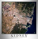 Aerial Image Satellite Map of Sydney Poster