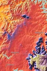 East Orange Focus >> Tennessee Physical Map   Topographic with Elevation Colors