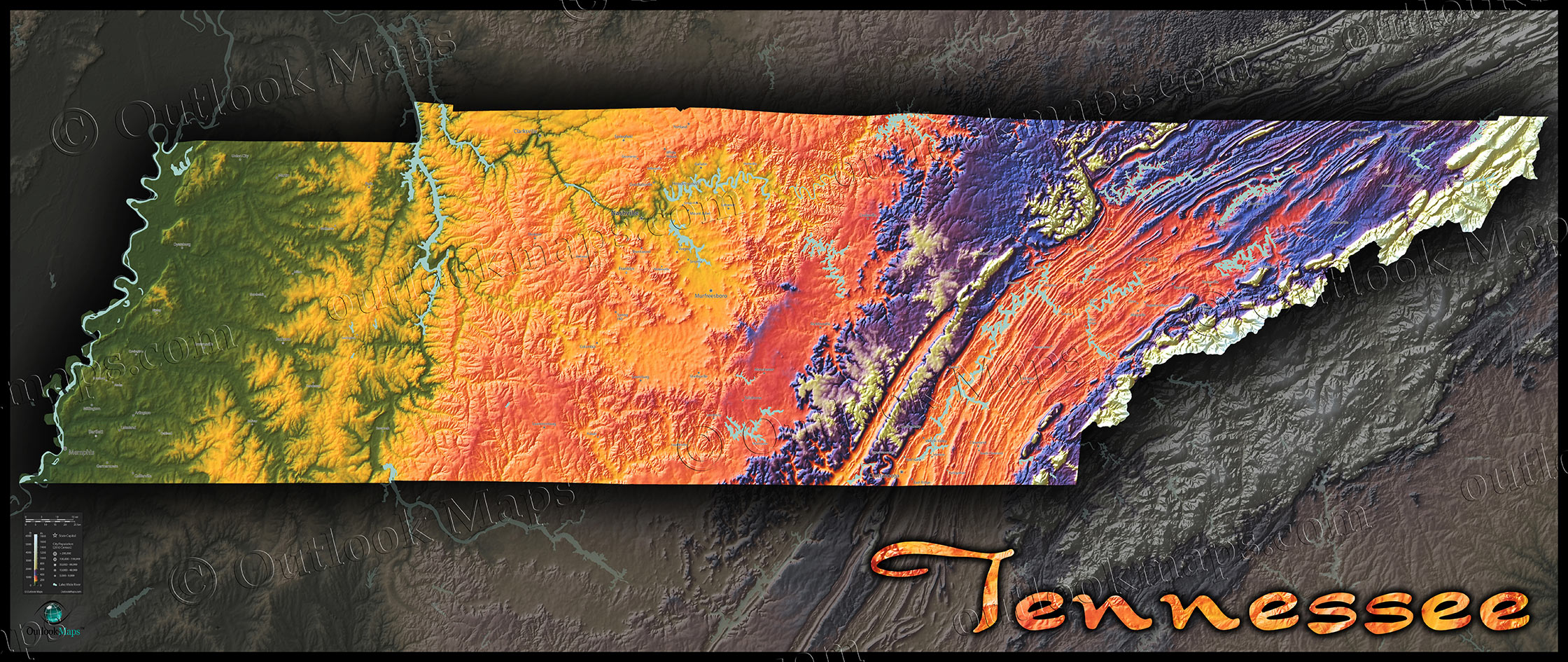 Tennessee Physical Map | Topographic with Elevation Colors