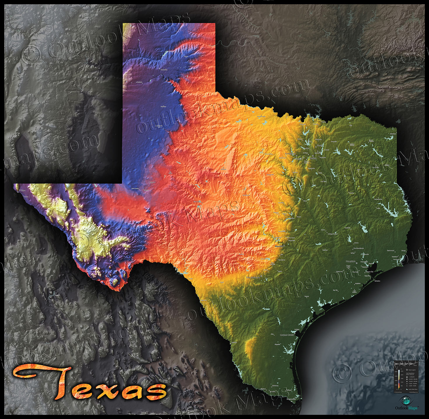Physical Texas Map State Topography In Colorful D Style - 3d topographical map of us