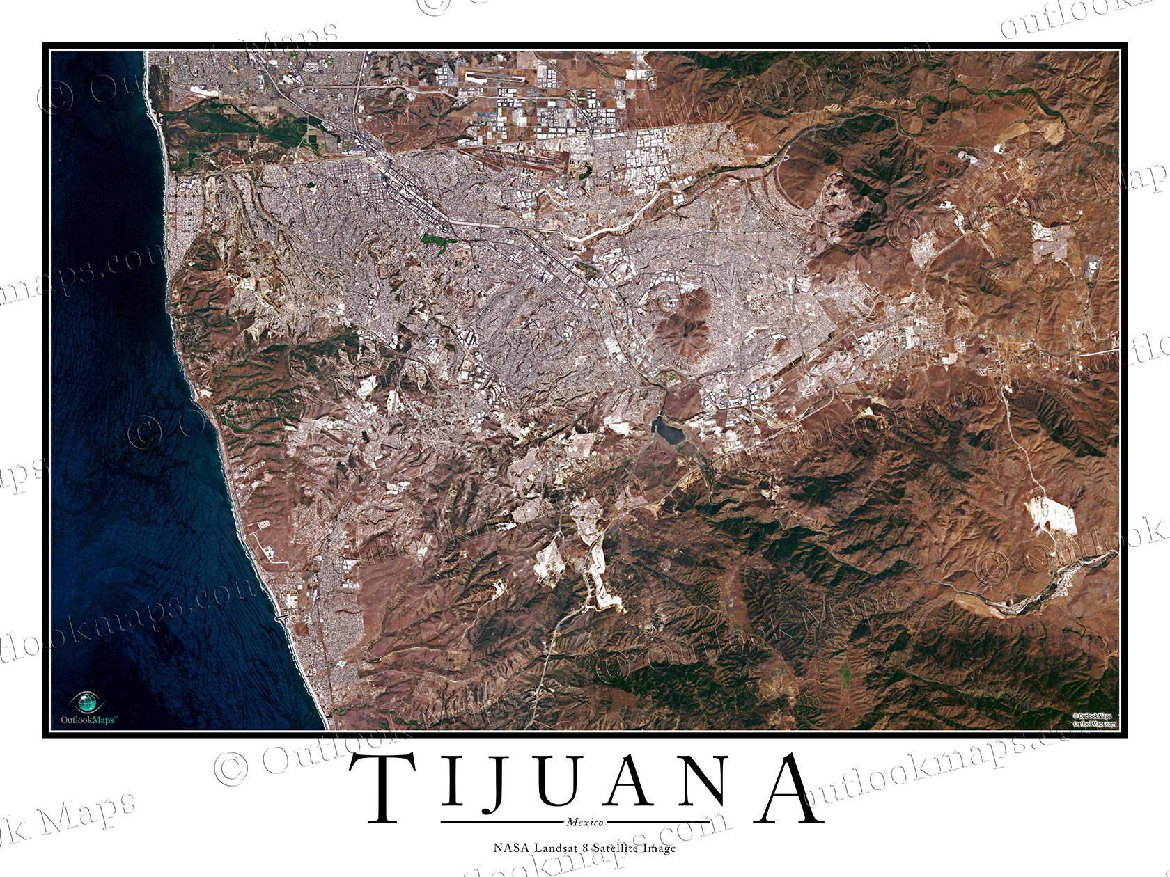 Tijuana Mexico Satellite Map Print Aerial Image Poster