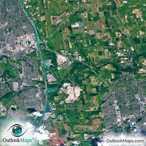 Toronto Canada Satellite Map Print Aerial Image Poster
