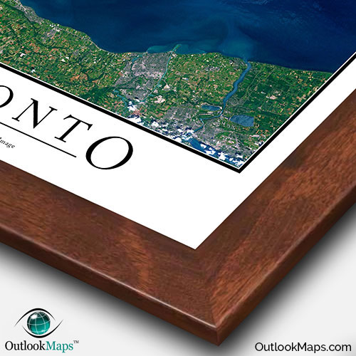Toronto canada satellite map print aerial image poster satellite image of toronto with walnut wood frame gumiabroncs Choice Image