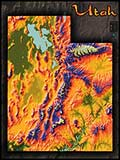 Utah Topographic Physical Wall Map