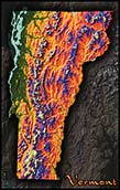 Physical Wall Map of Vermont Topography