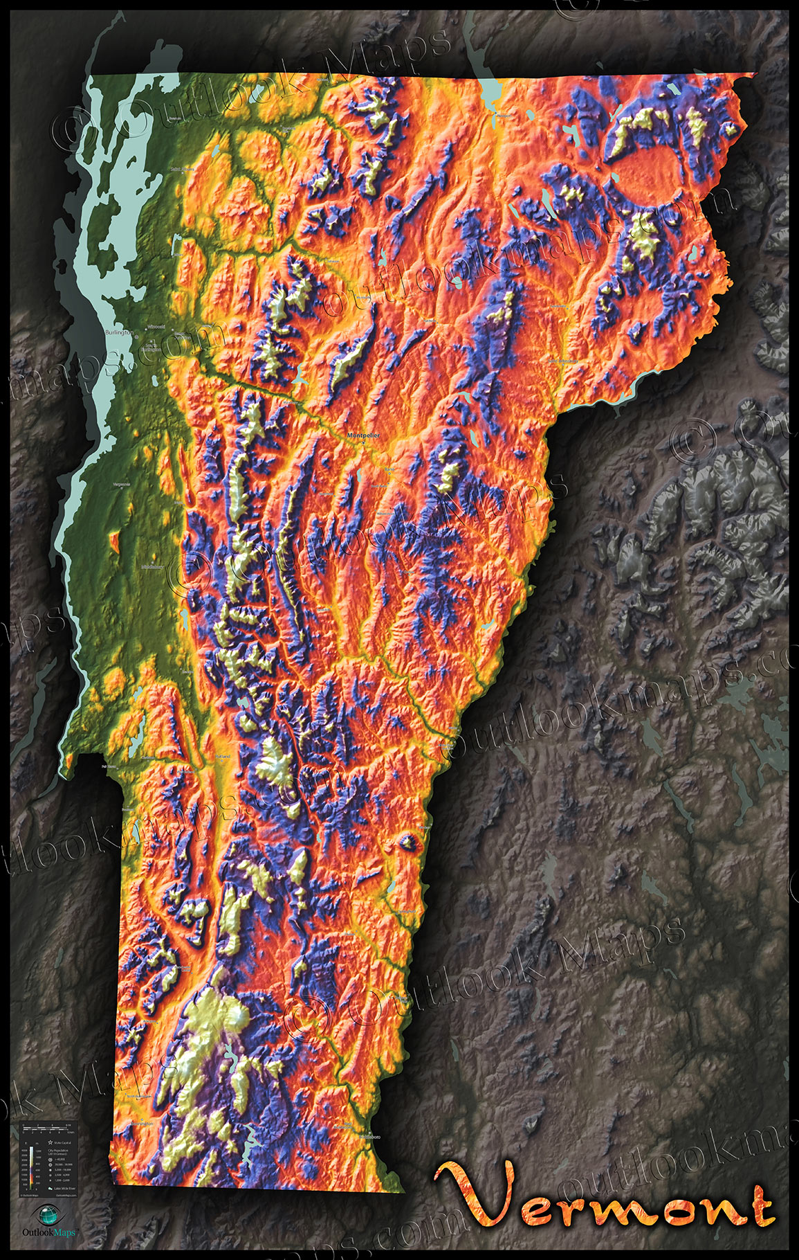 Colorful Vermont Wall Map | 3D Physical Topography of Terrain