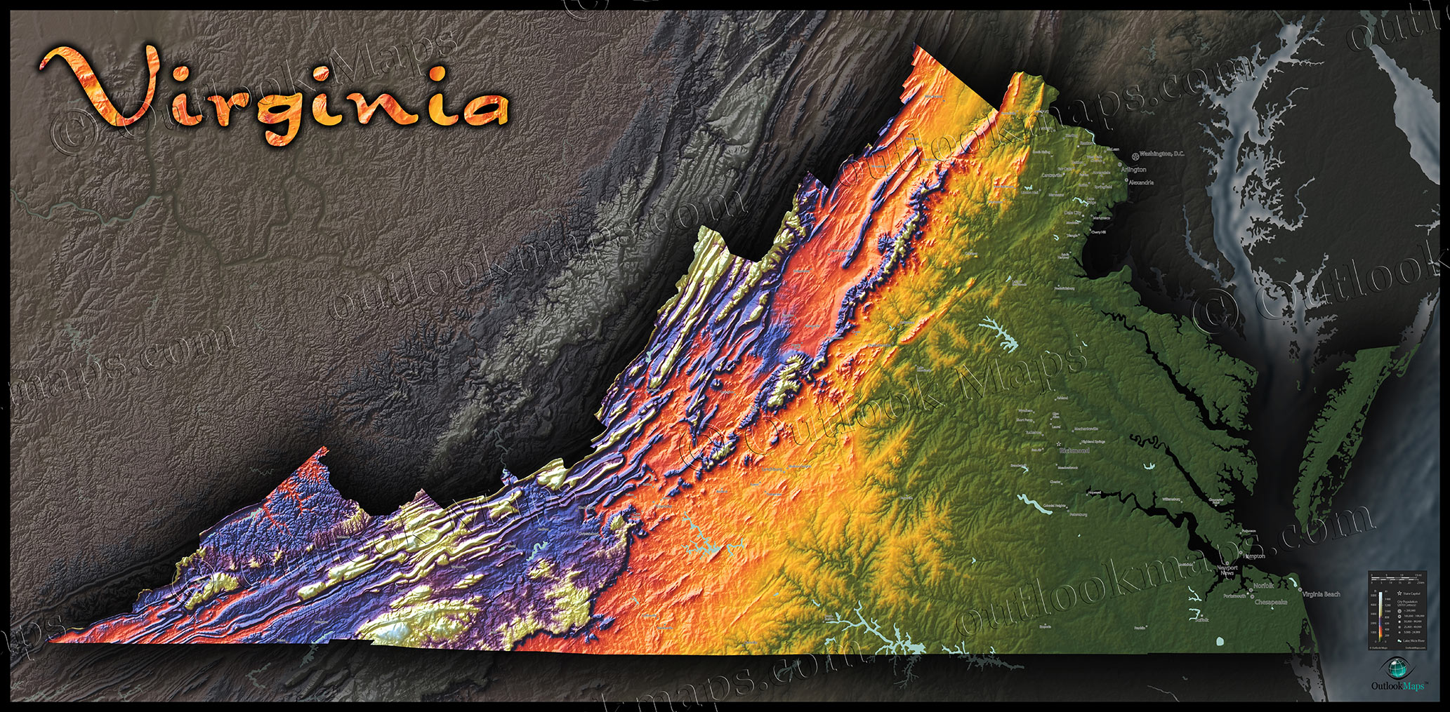 Virginia Topography Map  Physical Landscape In Bright Colors