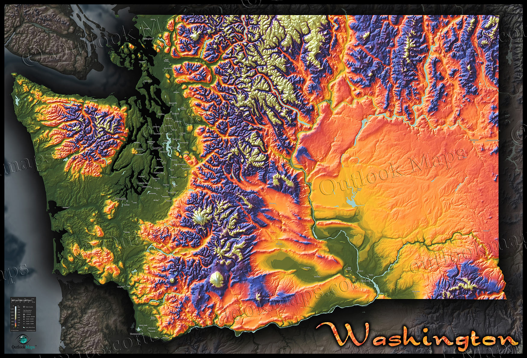 Topo map of washington state colorful mountains terrain topographic physical wall map of washington sciox Choice Image