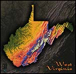 Topographic Physical Wall Map of West Virginia