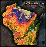 Wisconsin Topographic Physical Wall Map