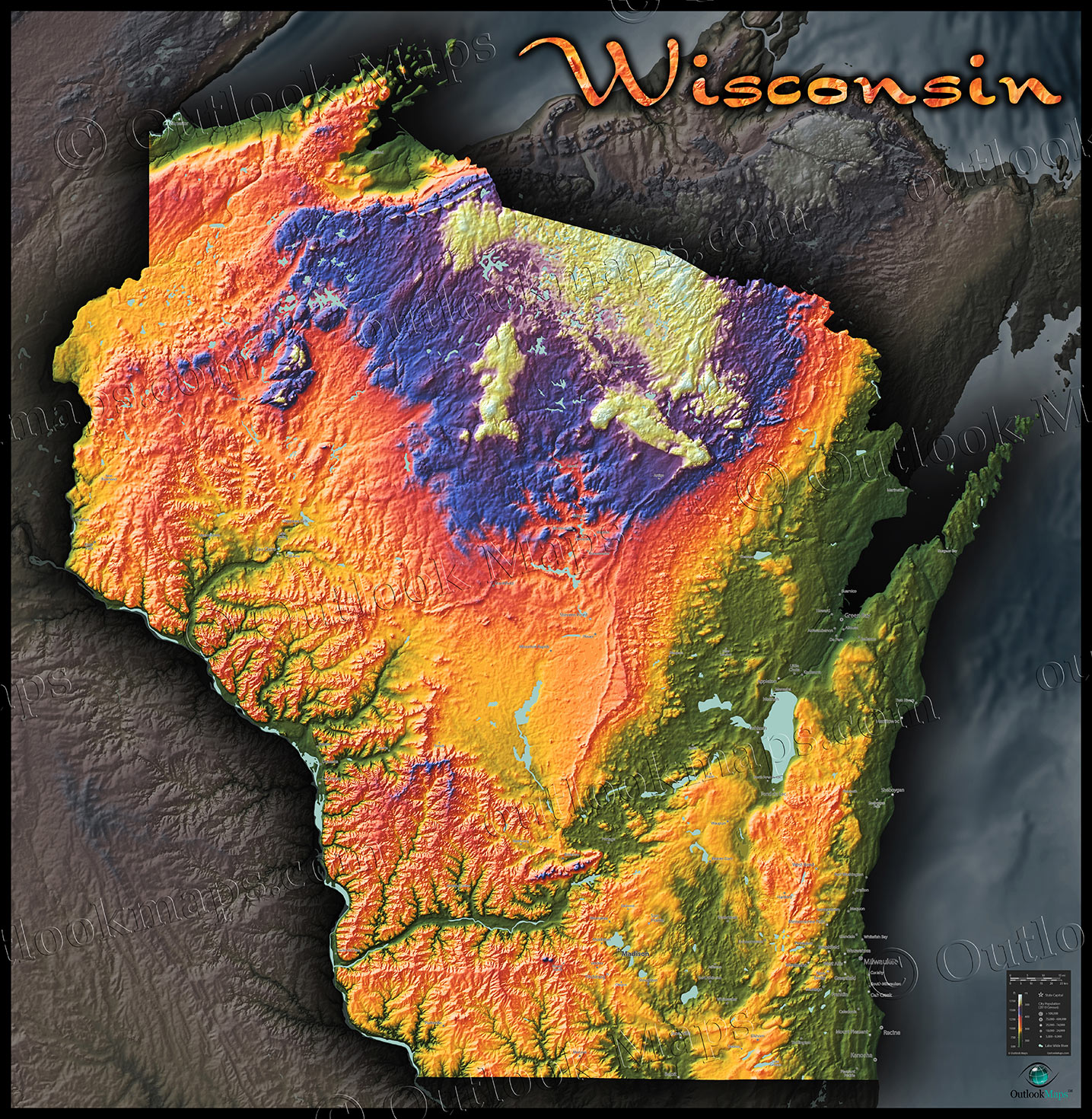 Wisconsin Topography Map | Colorful 3D Physical Features