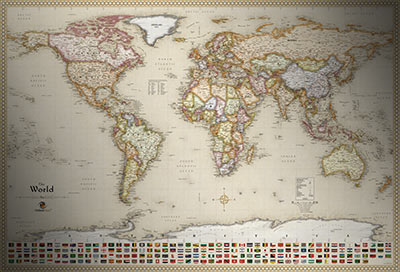 Classic Antique Map Style Executive World Map With Flags - Map of the world antique style