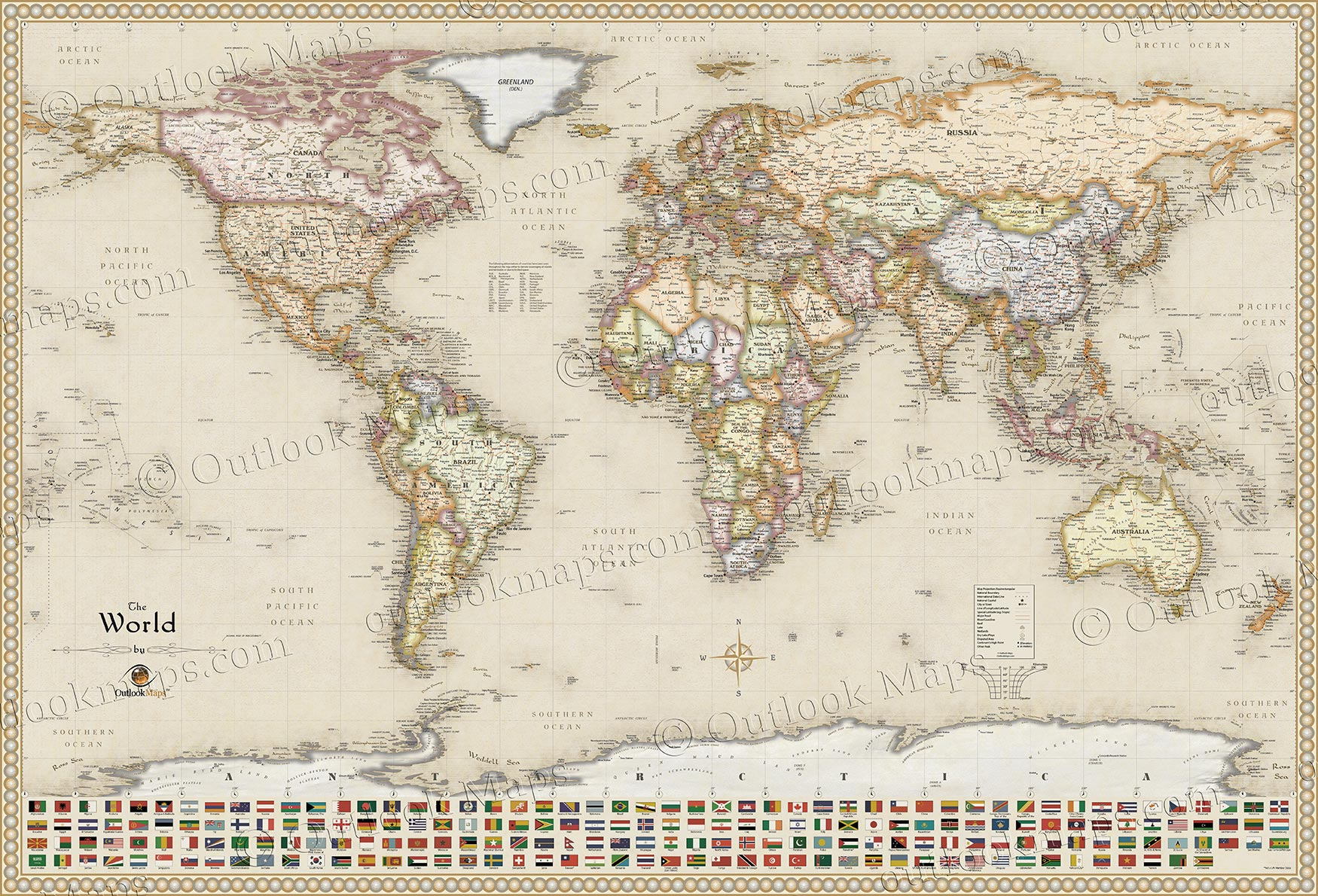 Classic antique map style executive world map with flags antique style world map with flags gumiabroncs Image collections