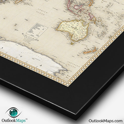 World antique style map current map in old vintage map style antique world wall map with black frame gumiabroncs Images